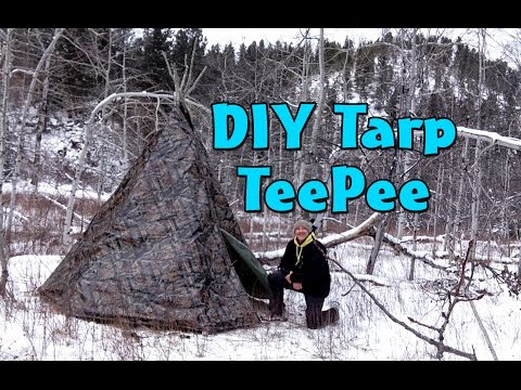 How to make a DIY Tarp Teepee - Teepee Winter Campout Part 1