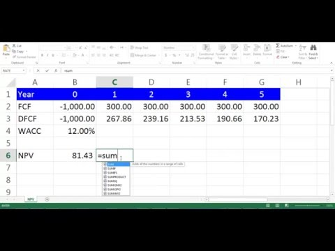 NPV Calculation using Excel