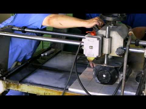 Marble tile cutting by diamond tile cutter