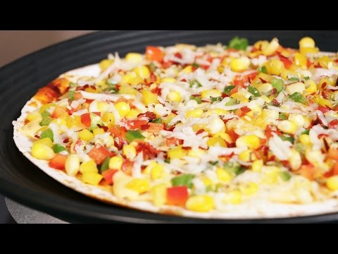 Stuffed Tortilla Pizza Without Oven  - Quick Crispy Tortilla Pan Pizza Recipe