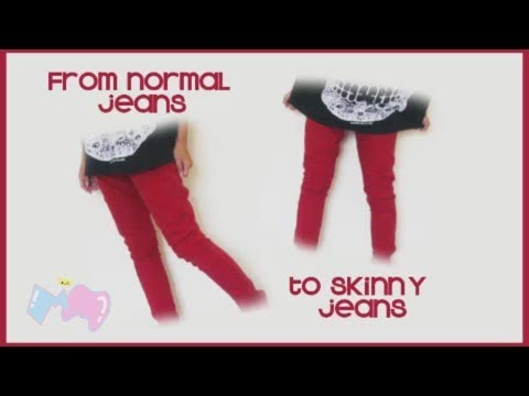 DIY ✂ Skinny Jeans from normal/ baggy jeans ~☆~