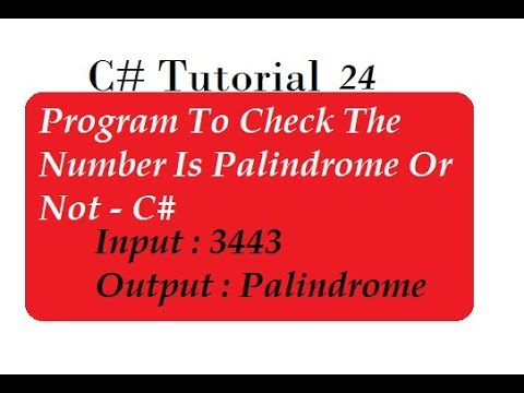 Check Palindrome Number in C#