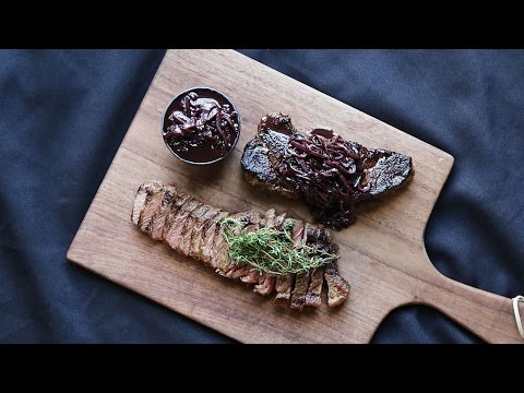 Bison Steak with Red Wine Shallot Sauce