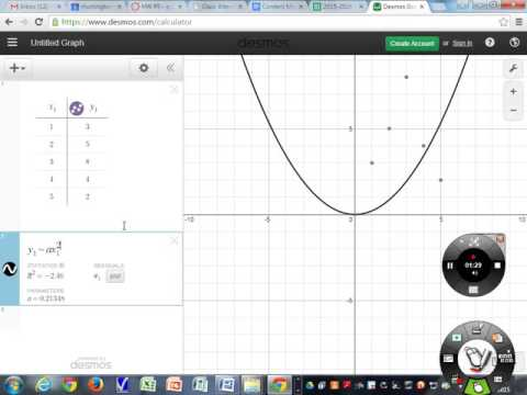 desmos quadratic regression example