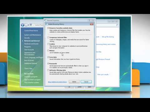 Internet Explorer® 8: How to clear AutoComplete history in Windows® Vista