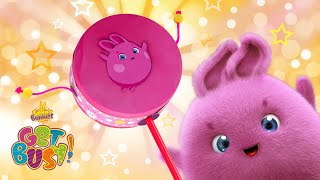 SUNNY BUNNIES - How to Make a Handheld Drum   GET BUSY COMPILATION   Cartoons for Children
