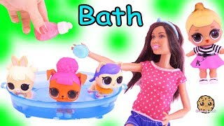 Washing LOL Surprise Pets In Water Pool with Barbie, Dog & Cat Toy Video