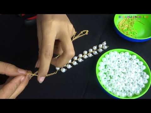 How to make Pearl Beaded Necklace| pearl necklace  step by step video tutorial |diy jewellery making