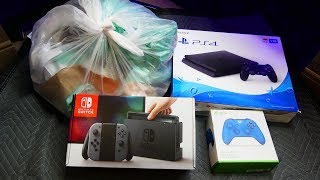 PLAYSTATION 4 AND NINTENDO SWITCH BOXES!!! Gamestop Dumpster Dive Night #760