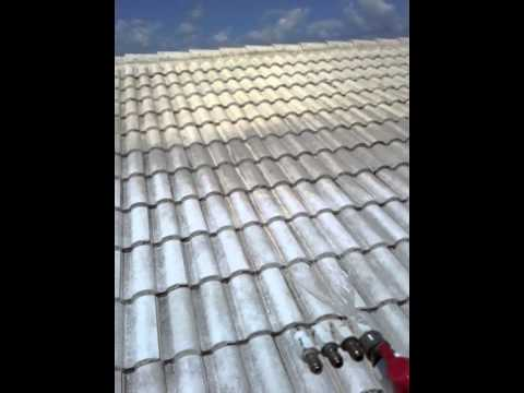 Softwashing A White Tile Roof 561-781-4297