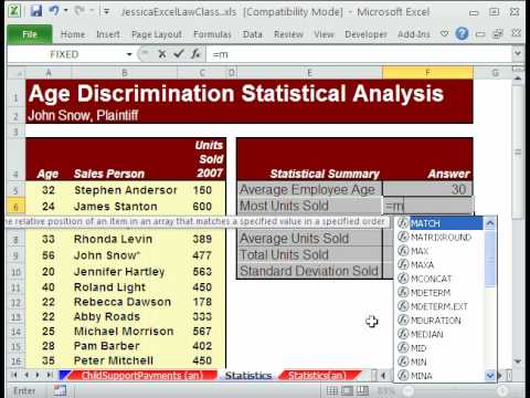 Law Class Excel #3: Statistics For Age Discrimination Case - Jessica's Law Class