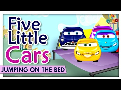 Five Little Cars Jumping On The Bed - Learn Babies Bed Nursery Rhymes & Songs - Kids Carnival