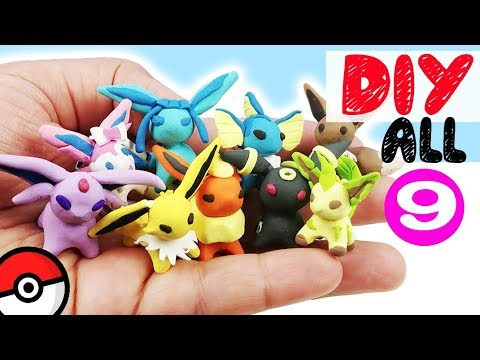HOW TO MAKE ALL 9 EEVEELUTIONS POKEMON DIY craft polymer clay tutorial miniature