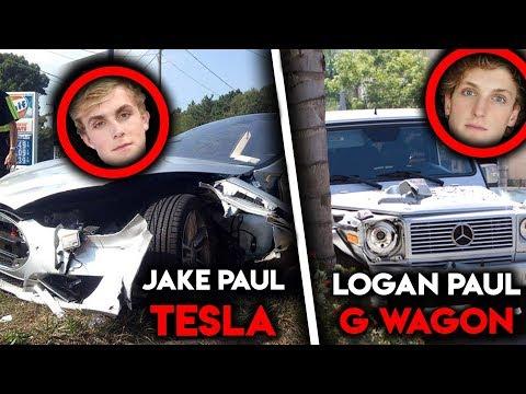 Logan paul crashes into jake's tesla. (CRINGE WARNING)