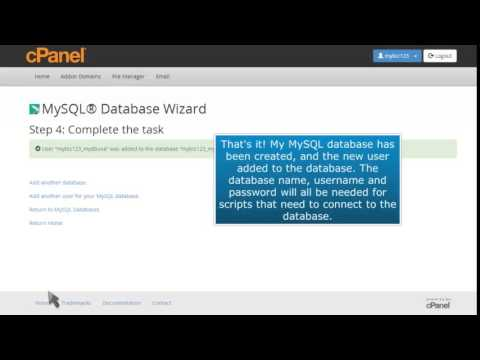 How to setup a database using the MySQL Database Wizard in cPanel