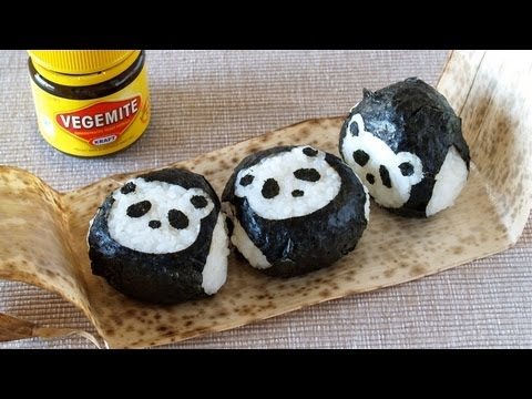 How to Make VEGEMITE Onigiri Rice Balls (Panda Omusubi Nori de Pakutto Recipe) ベジマイトおにぎりの作り方 (レシピ)