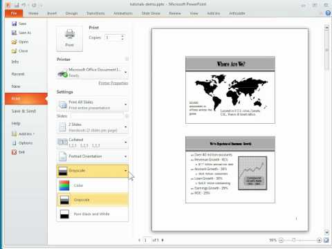 Quick tour of PowerPoint 2010 dynamic print preview