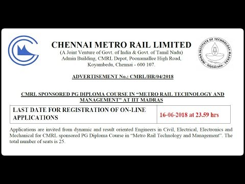 Chennai Metro Rail (CMRL) Recruitment 2018 | Apply Online | 25 Job Vacancies