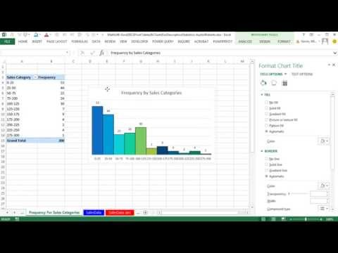 Excel 2013 PivotTables & Charts for Descriptive Statistics From Raw Data Sets (5 Examples) Math 146