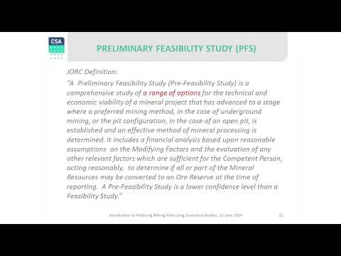 4a. Pre-feasibility Studies - Reducing Mining Risks