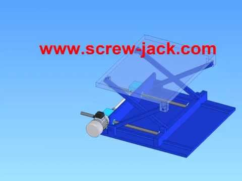 make a small scissor lift drive system with a electric motor driven  two screw jacks lifting systems