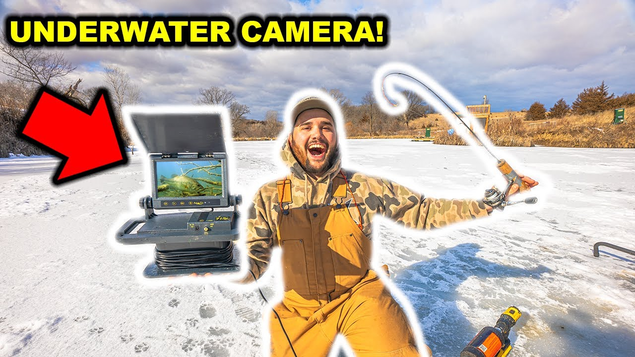 Ice Fishing My BACKYARD POND with an UNDERWATER CAMERA!!! (INSANE FOOTAGE) - CATCH CLEAN COOK
