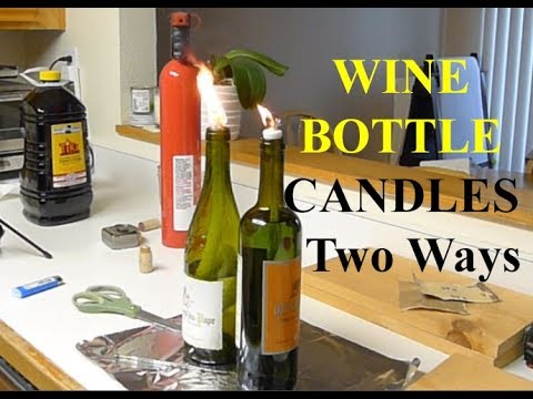 Emergency Hurricane Wine Bottle Candle Two Ways DIY Tutorial Kerosene Oil Lamp