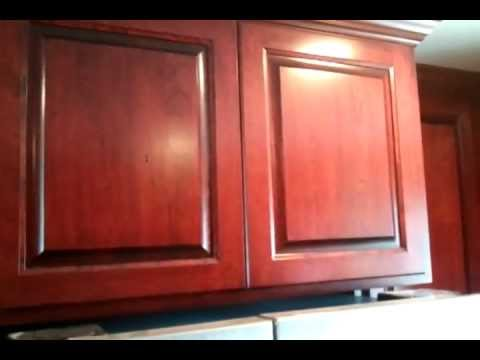 Center City Cabinets Cherry cabinets stained Varathene Cabernet.3gp