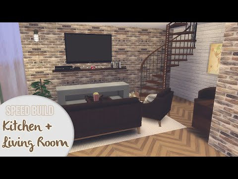 KITCHEN + LIVING ROOM | The Sims 4 Speed Build