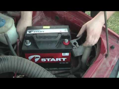 Car Repair Guide :Lesson: Changing a car battery :Replace old battery with new