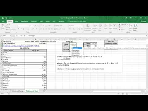 Microsoft Excel: Mean and Median