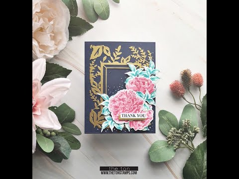 Fresh Cut Peony Floral Frame Thank You Card