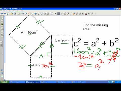 Pythagorean's Theorem -Rectangle, Area of square and word problem.