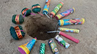 14 Crackers inside a big hole    Testing Crackers    Crackers Testing    Patakhe    Pataka    Diwali