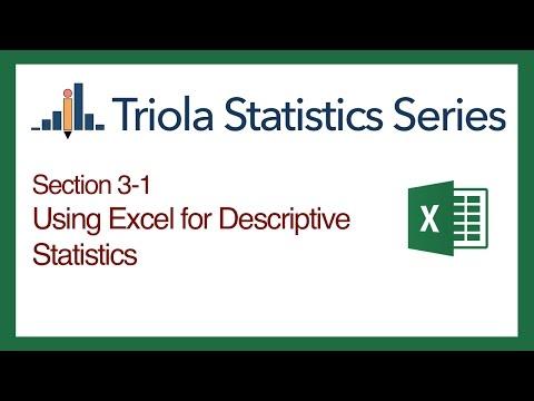 Excel Section 3-1: Using Excel for Descriptive Statistics
