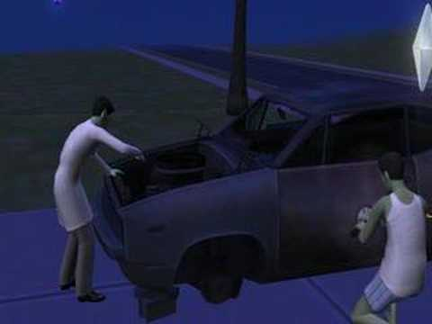 Sims 2 Free Time - Working on the car