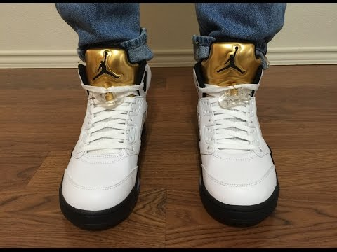 Jordan Retro 5 Gold Medal/Coin unbox and on feet review