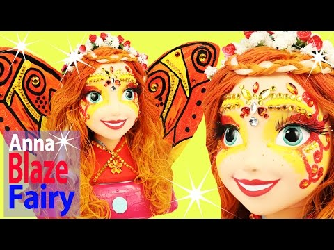 FROZEN ANNA FAIRY FIRE BLAZE Princess Paint Your Own Hair Chalk Styling Toys Makeover Face Gems