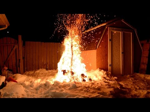 Burning a Christmas tree