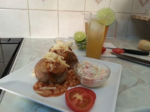 Jacket Potatoes Served With Coleslaw & Beans   Recipes By Chef Ricardo