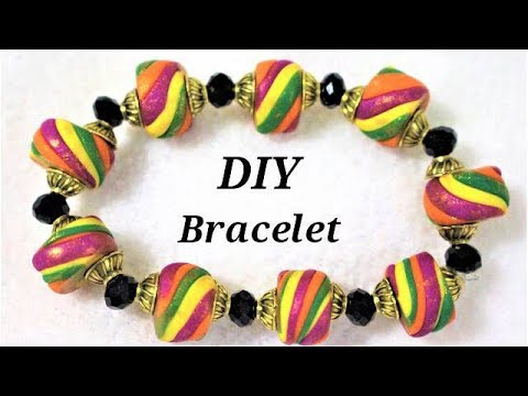 DIY How To Make Easy Polymer Clay Multicolored Bracelet | Jewellery Making Tutorial