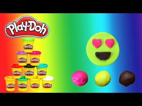 How to Make Play Doh Smiling Face with Heart Shaped Eyes - Emoji - PlayWithMe#12