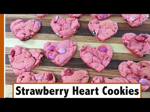 Simple Strawberry Cookie Hearts   Valentine's Day Special!!