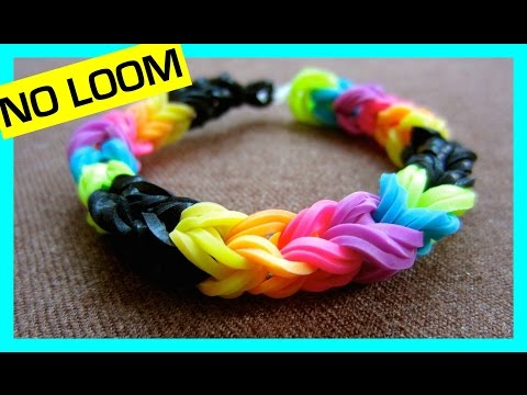 Rainbow Loom Bracelet Triple Link Fishtail without a Loom/ using 2 Pencils