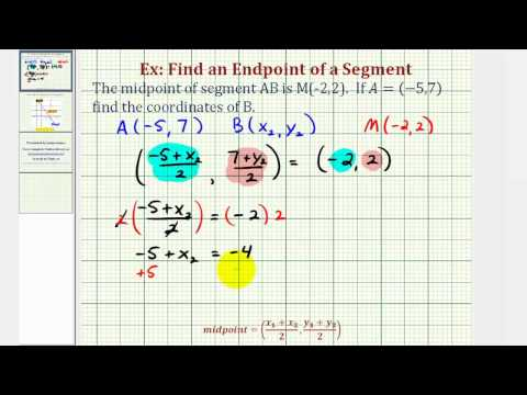 Ex: Find the Endpoint of a Segment Given the Midpoint and One Endpoint