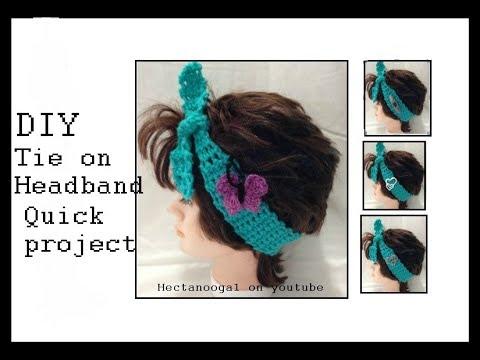Spring Crochet Headband, QUICK CROCHET PROJECT, TIE ON HEADBAND, , crochet Butterfly