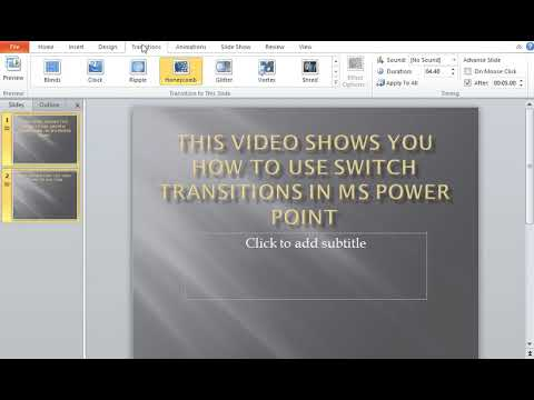 How to use Switch Transitions in MS Power Point