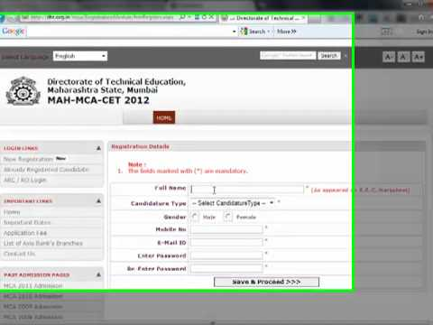 Online Payment for Application Form for MAH-MCA-CET 2012 of Maharashtra