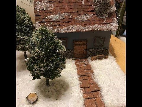Diy winter wonderland scene with house