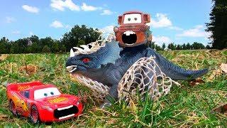 Disney Pixar Cars Lightning McQueen & Tow Mater Rescue GIANT Dinosaur BAD Joker Kids Toy Story Movie